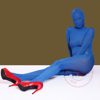 Plus Size XL Outside Seamless Transparent Zentai One Piece Full Coat High Elastic Dancing Rompers Stage Cosplay Costume Bodysuit