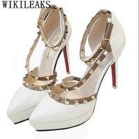 Designer Womens Gladiator Sandals Platform Shoes Luxury Brand Rivet Shoes Patent Leather Fetish High Heels Pumps