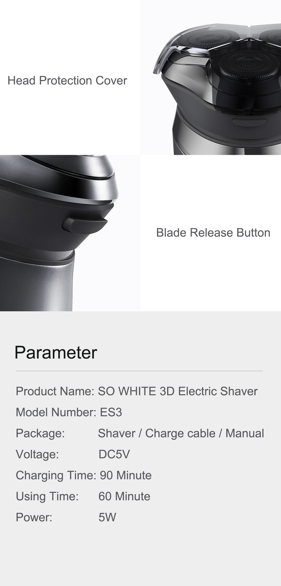 Xiaomi Soocas SO WHITE Electric Razor Shaver For Men With USB Rechargeable And 3D Smart Control 16