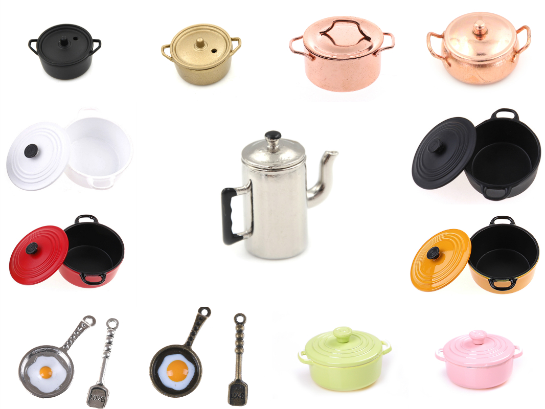 Dollhouse Mini Pot Boiler Pan With Lid Kettle Doll House Miniature Kitchen Utensil Cooking Ware Play Kitchen Toy Accessories