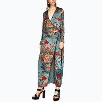 2017 Vintage Kimono Long Dress Floral Print Long Sleeve Dress Women Deep V Sash Wrap Kimono