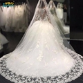 Vestido de Noiva 2017 Chapel long Train Muslim Wedding Dress Vintage Lace Long Sleeve Ball Gown Wedding Dresses Robe de mariage