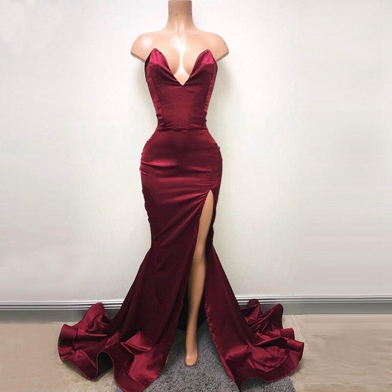 Sexy haute fente africaine sirène robes de bal chérie sans manches robes de soirée longueur plancher robes de soirée formelles sur mesure