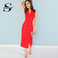 Sheinside Red Sleeveless Summer Blazer Dress Women Sexy Bodycon Party Dresses 2018 Notched Split Shell Elegant Ladies Long Dress