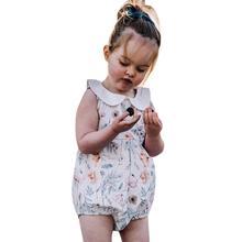 Toddler Newborn Baby Infant Girls Clothes Sleeveless Flower Print Romper Bodysuit Outfits цены онлайн