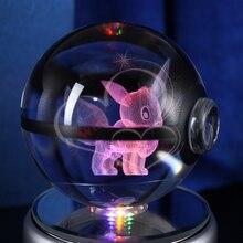 3D Laser Pokemon Go Crystal Eevee Ball With Led Light Base