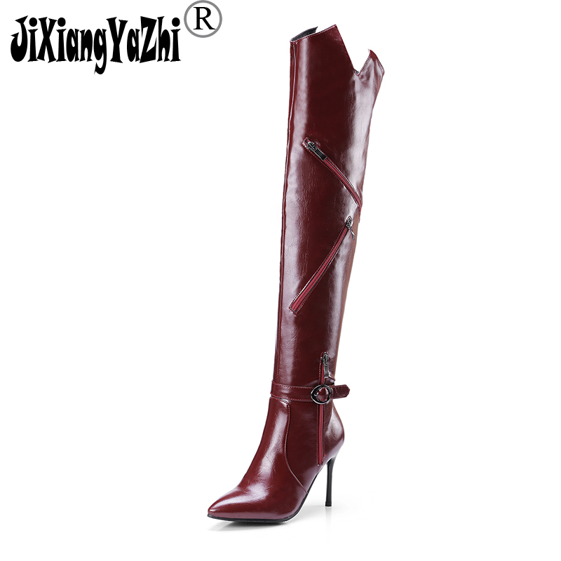 JIXIANGYAZHI brand 2018 autumn and winter Europe and the United States high-heeled leather zipper fashion boots # B-015 europe and the united states women s new winter 2016 worn out show thin butterfly sequins loose nine points straight jeans