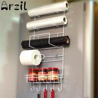 Metal Refrigerator Side Storage Rack Holder Space Saver Kitchen Storage Wraps Rack Cutlery Sundries Organizer Kitchen