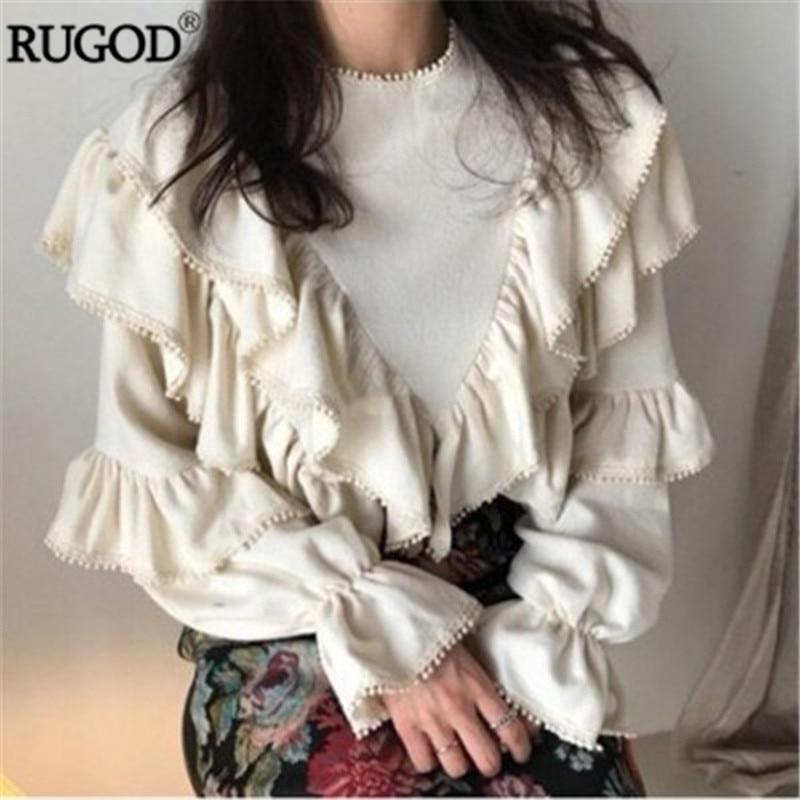 RUGOD Повседневное женская блуза с оборками на весну рукав раструб белый рубашки женский, с круглым вырезом Офисная Женская блузка Camiseta feminina
