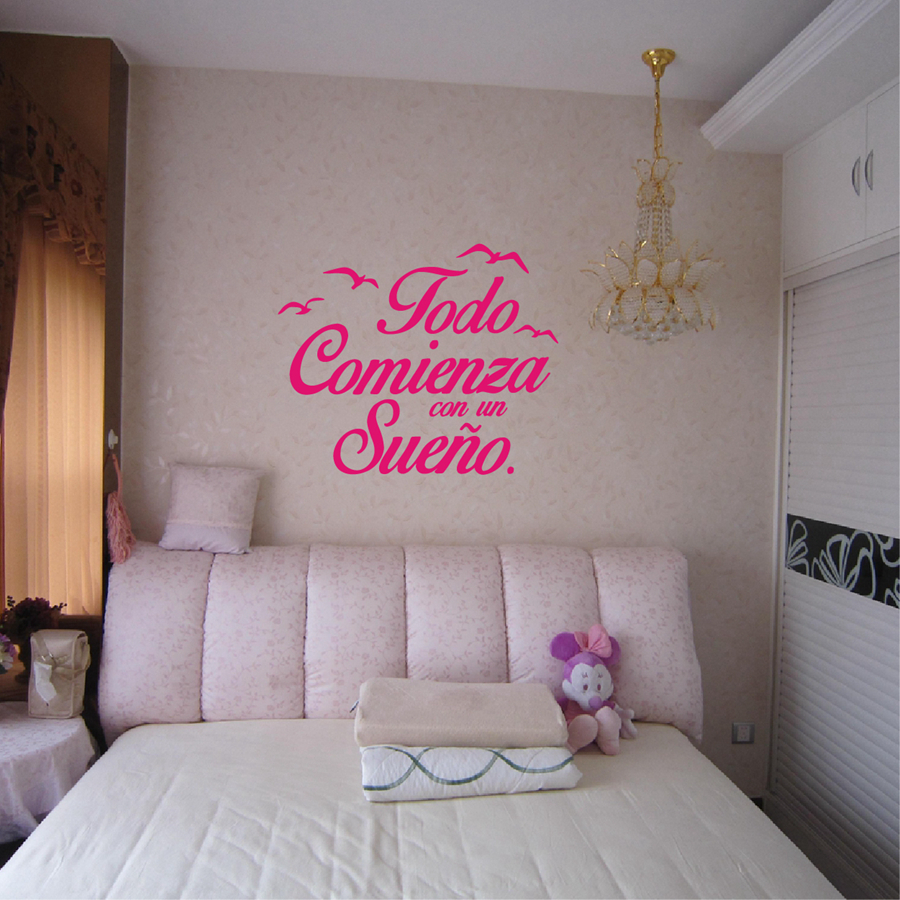 Spanish Quote Vinyl Wall Sticker For Bedroom-Free Shipping For Bedroom Wall Stickers With Quotes