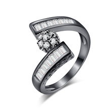 2017 New Fashion Rings Micro Paved Zircon Wedding Ring Classic Black Gold Color Rings For Women For Girl Bridal Jewelry