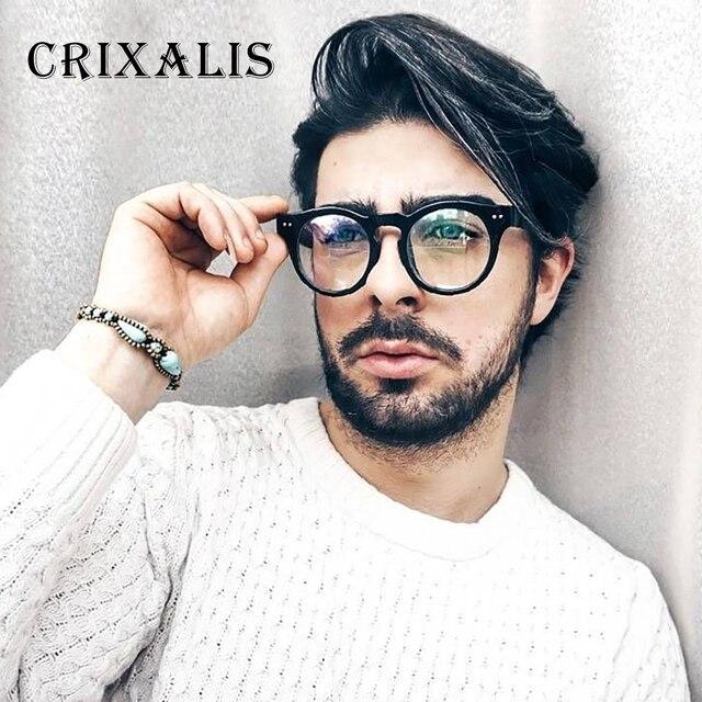 499836fc3d Crixalis 2018 Vintage Men Glasses Black Round Eyeglasses Frame Women Brand  Designer Retro Circle Glasses Clear Lens UV400 PG2681