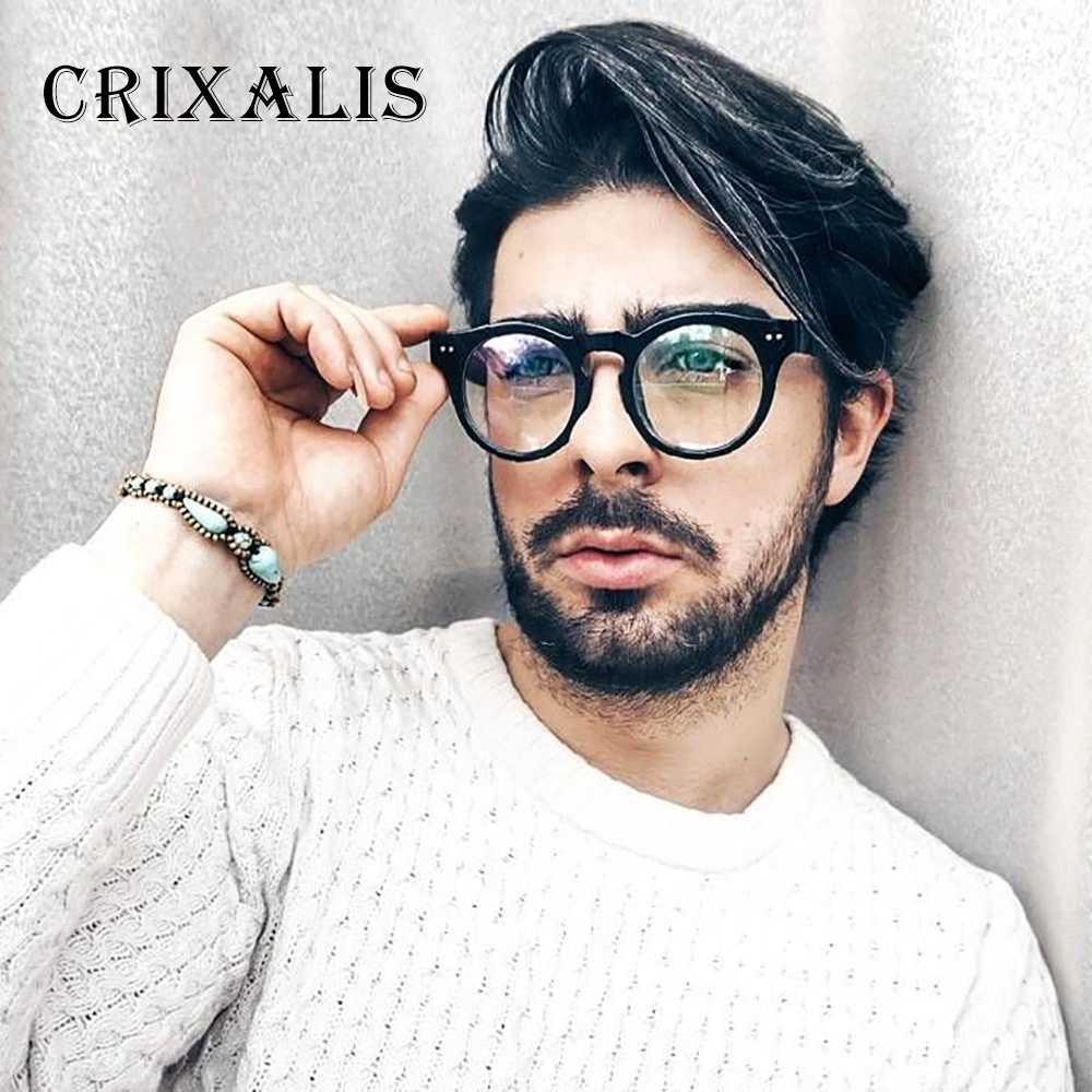 e75b465b5ed70 Crixalis 2018 Vintage Men Glasses Black Round Eyeglasses Frame Women Brand  Designer Retro Circle Glasses Clear