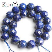Perles en pierre Lapis-Lazuli naturelles à facettes, pierres précieuses espacées amples, pour la fabrication de bijoux, Bracelets à faire soi-même colliers, 7.5 pouces, 6mm/8mm