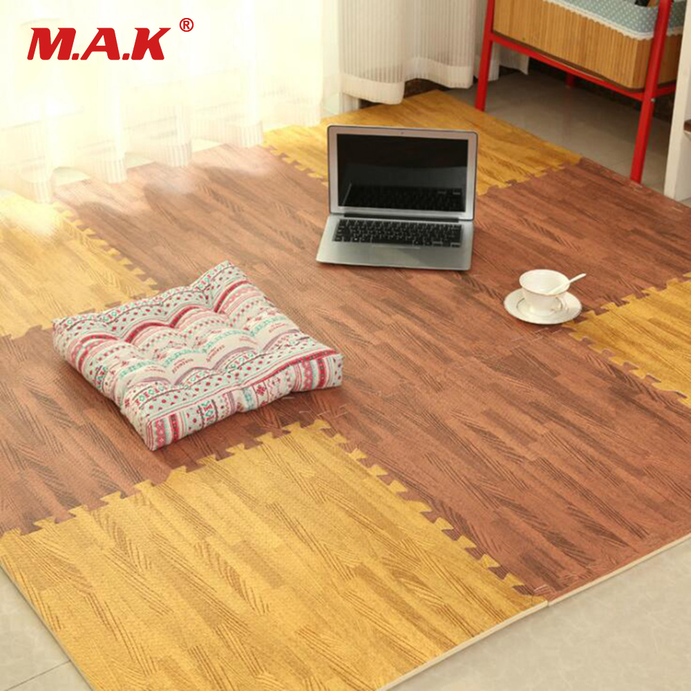 6pcs/set EVA Foam Baby Play Mat Wood Grain Playmat Interlocking Exercise Gym Floor Waterproof Rug Crawling Mat wood grain flannel skid resistant rug