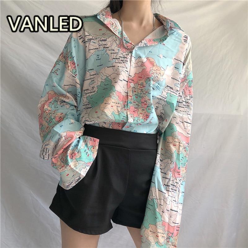 Chinese Retro Shirts Characters Printed Long Sleeve Loose Cardigan Blouse 2019 New Fashion Streetwear Shirts Femme Blouses & Shirts