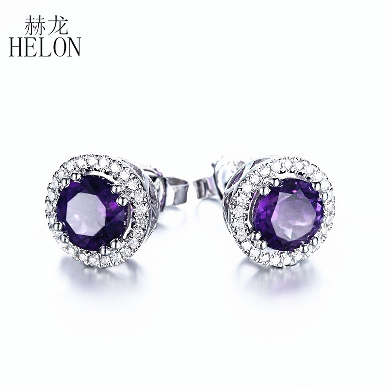 HELON 6mm Round 1.6ct Fine Amethyst Earrings Solid 10K White Gold Diamonds Stud Earrings Romantic Fine Jewelry Engagement Party
