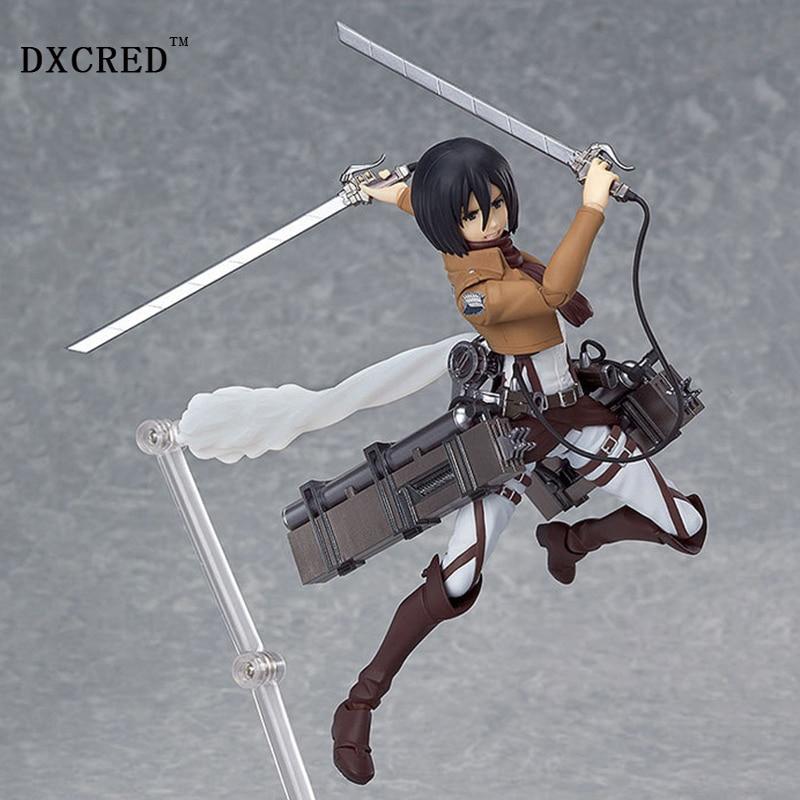 Attack on Titan Eren igure Mikasa Levi 14cm Shingeki no Kyojin Scouting Legion Rivaille Levi Boxed PVC Action Figure Model