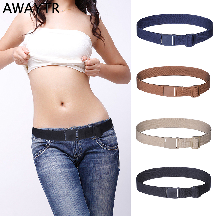 AWAYTR New Women Invisible   Belt   Buckle Plastic Comfortable Elastic   Belt   For Women Men Adjustable No Show Web   Belt   for Jeans