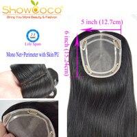 Накладные волосы на клипсах 5*6 тупее моно ПУ человеческие волосы для наращивания виргинские волосы 130% плотность Showcoco парик Топпер натураль