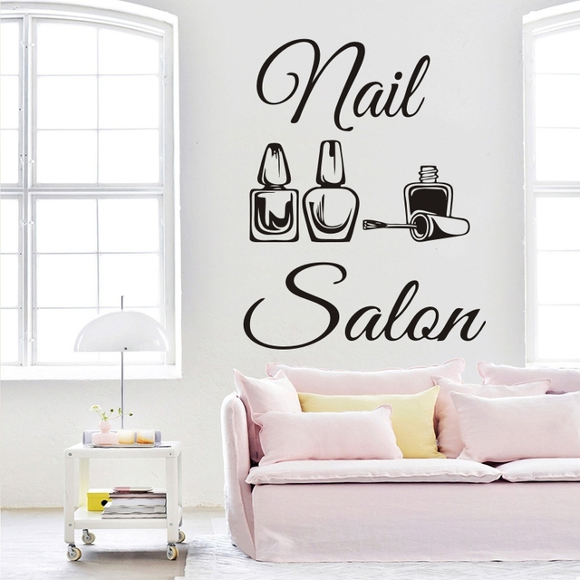 Nail Salon Logo Wall Sticker Polish Art Wall Decal Manicure Design Beauty Salon Decor Vinyl Bedroom Livingroom Decoration ST008  sc 1 st  AliExpress.com & Nail Salon Logo Wall Sticker Polish Art Wall Decal Manicure Design ...