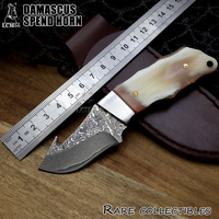 1BN Newest Natural Flower Horn Fixed Blade Knife Damascus Steel Handle Outdoor Hunting Knife Camping