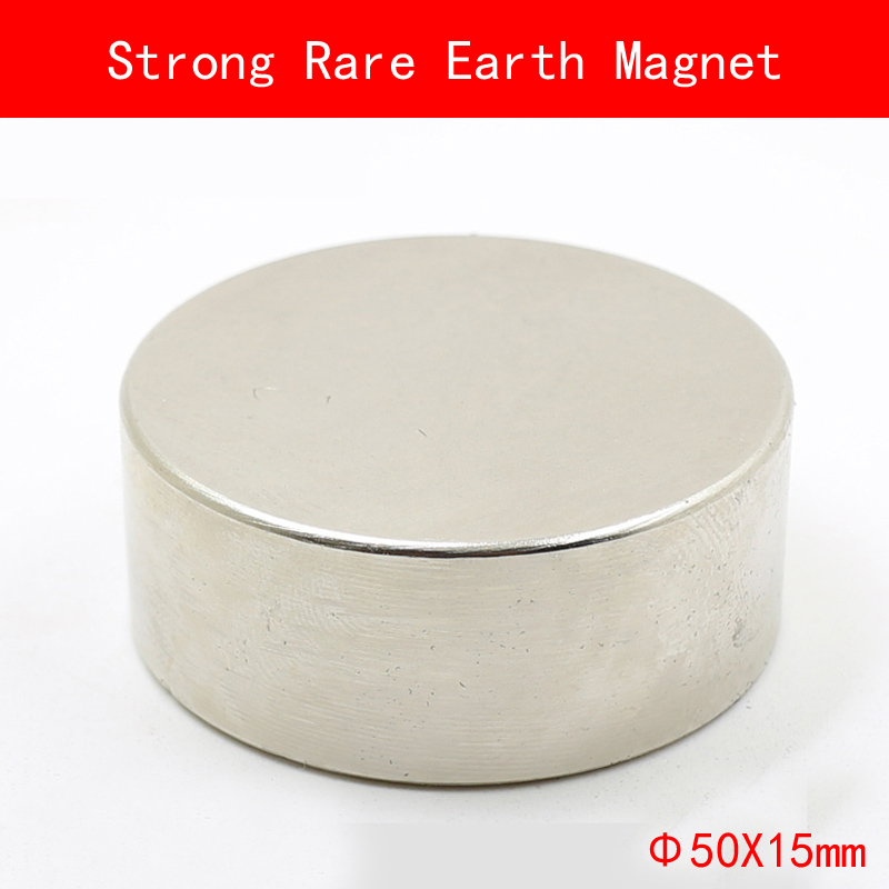 1PCS D50mm x 15mm Strong Round Magnet permanent Rare Earth Magnet diameter 50*15MM plating Nickel d50mm round pick up magnet w hook silver