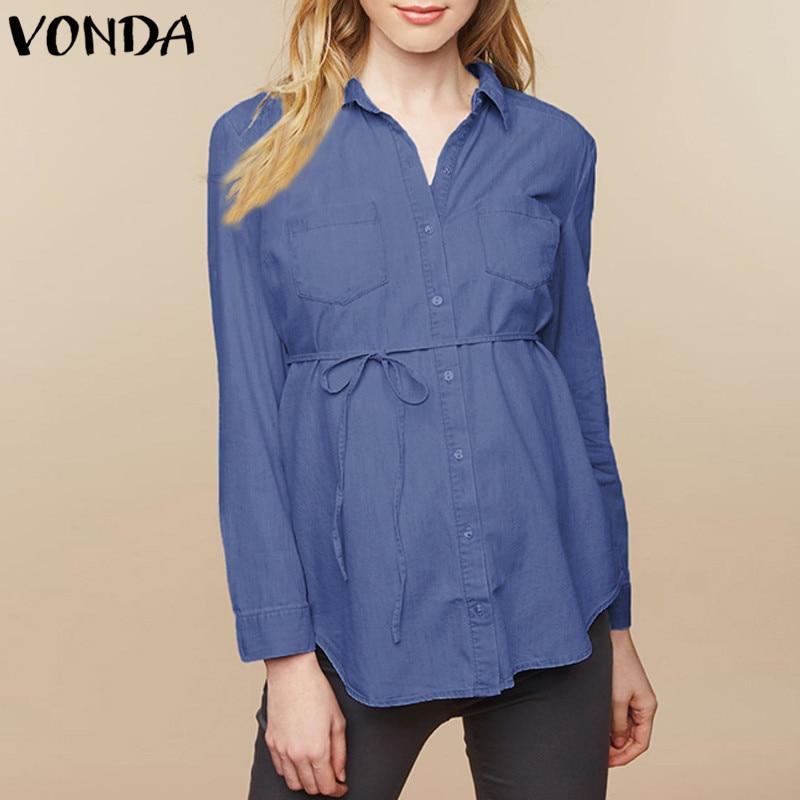dff9d8ced VONDA talla grande 2019 otoño ropa de maternidad Casual suelta Blusa de  manga larga Tops mujeres embarazadas camisas de mezclilla ropa de embarazo