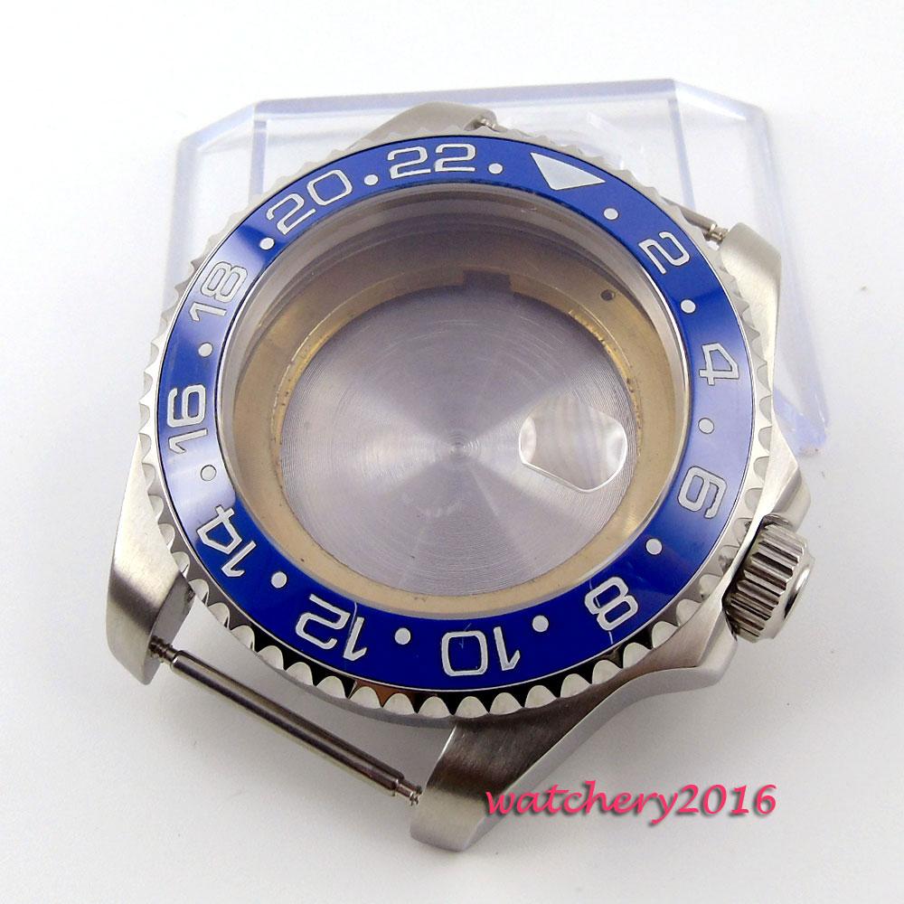 43mm parnis blue ceramic bezel sapphire glass Watch CASE fit 8205 8215 821A 2836 movement43mm parnis blue ceramic bezel sapphire glass Watch CASE fit 8205 8215 821A 2836 movement