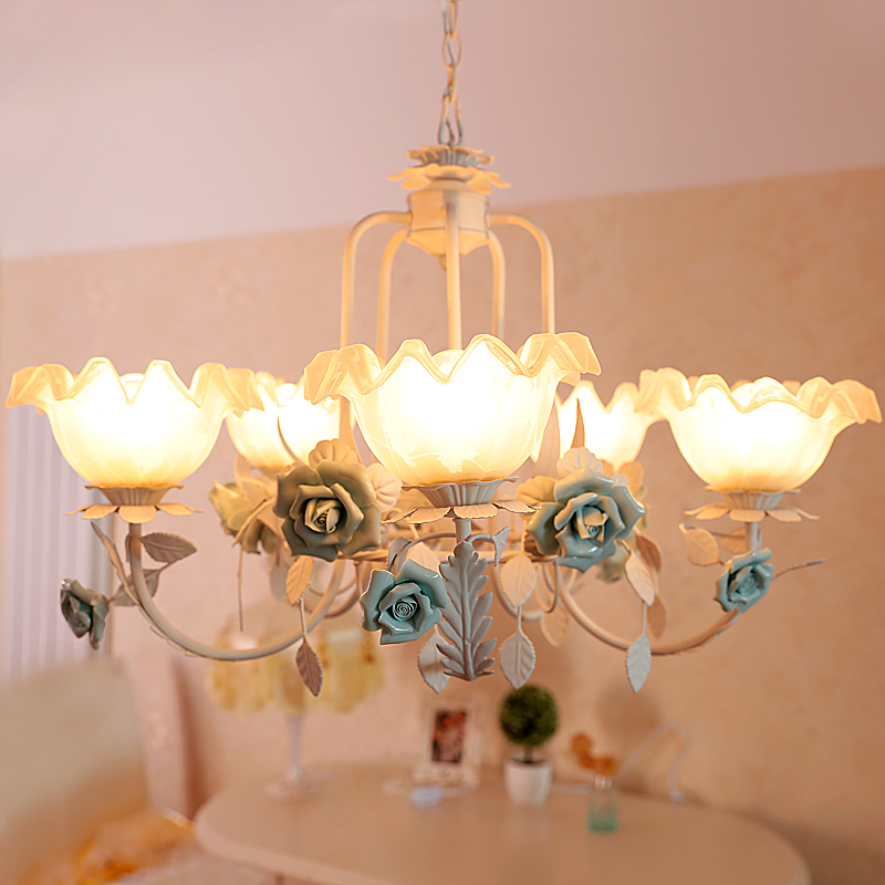 Chic Dining Room Chandeliers: Pastoral Style Glass Chandelier Mediterranean Pastoral