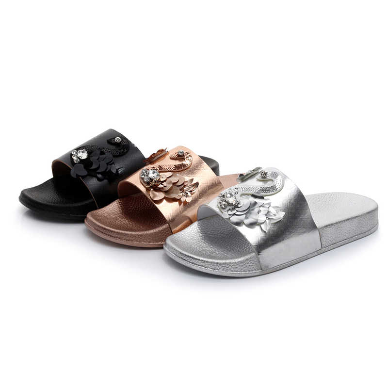 HEE GRAND Summer Gold Silver Slippers 2018 New Flat with Slides Summer Beach Platform Shoes Woman Slip On Shoes Woman XWT1191