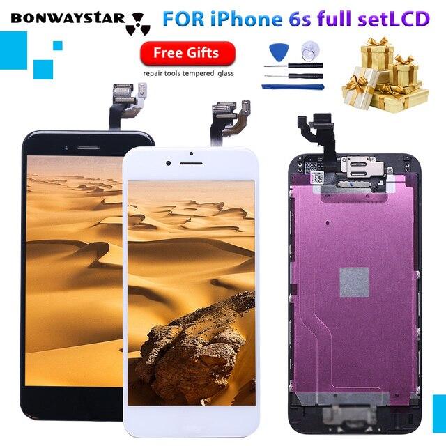 Para o iphone a1633 a1688 a1700 lcd aaaaa módulo de toque display conjunto completo montagem para iphone 6s com câmera + sensor lcd