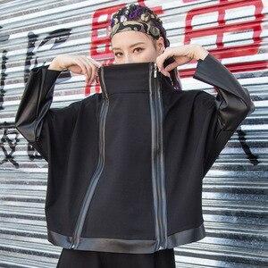 Image 3 - Max Lulu Thời Trang Thu Đông Phong Cách Hàn Quốc Nữ Punk Dạo Phố Nữ Da Miếng Dán Cường Lực Áo Khoác có Dây Kéo Cao Cổ Áo