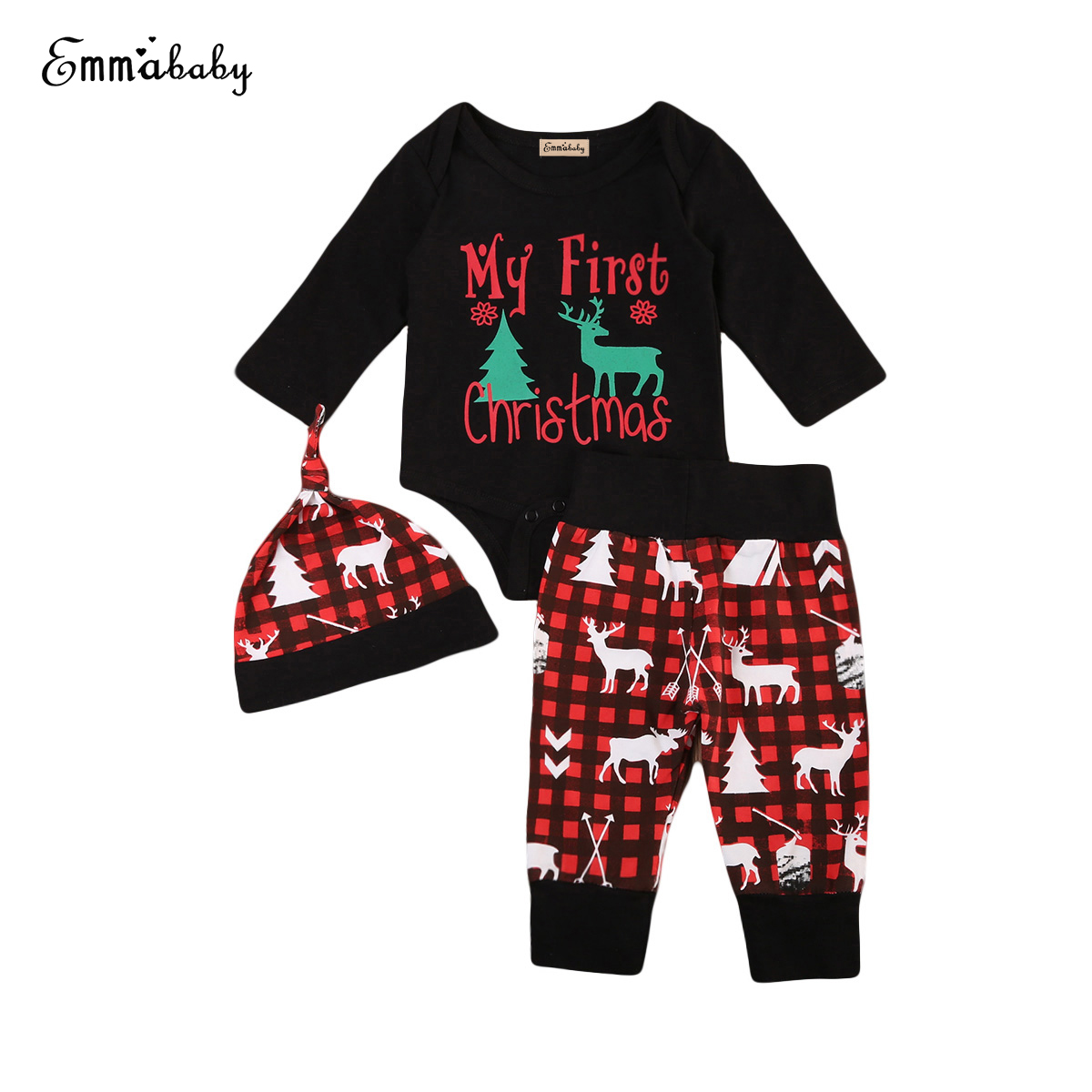 My First Christmas Newborn Baby Boy Girl Xmas Clothes Long ...
