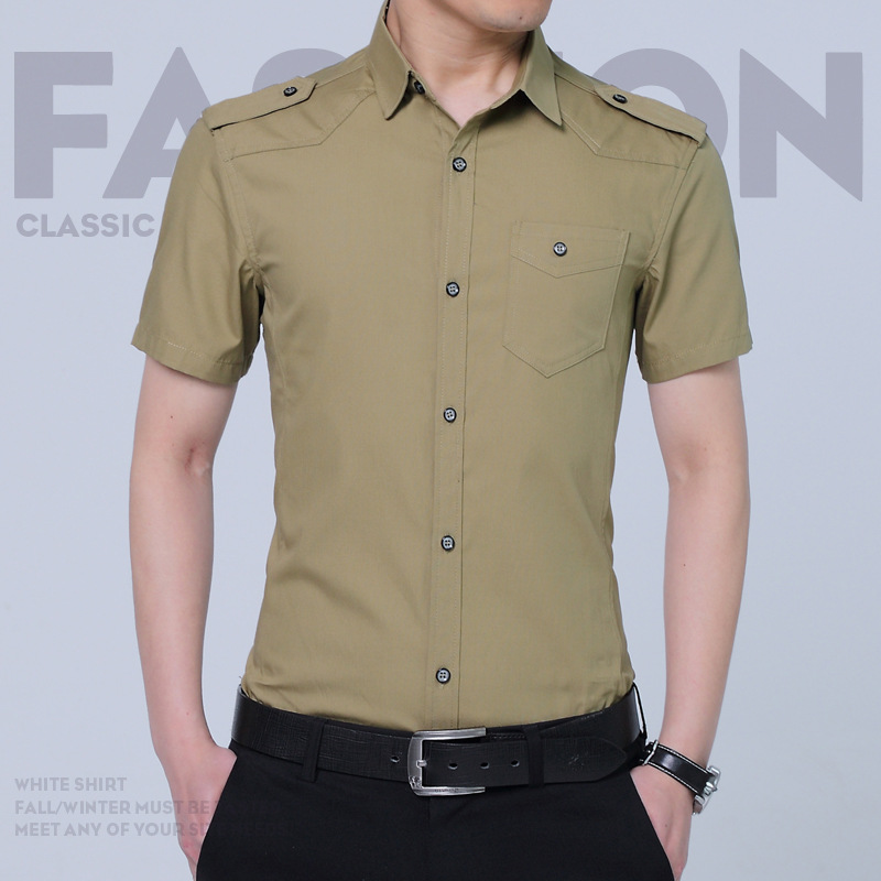 Large Size Men's Lapel Cardigan Short Sleeve Shirt Summer Outdoor Climbing Fishing Army Training Breathable Slim Military Shirts