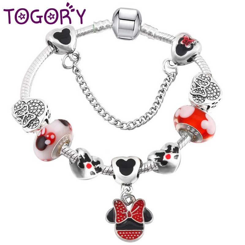 269ad59bb TOGORY Handmade Mickey & Minnie Murano Glass Beads Charm Bracelet Women Fit  Snake Chain Pandora Bracelet