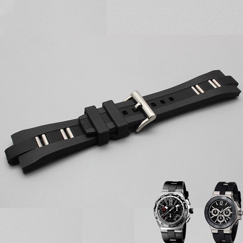26mm X 9mm Black Rubber Scuba Diver Watch Band Strap For FIT BVLG Diagono