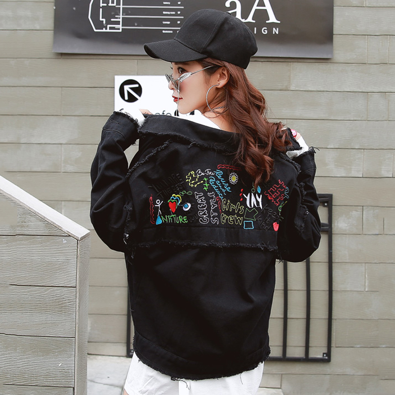 Harajuku Fashion Chic Graffiti Embroidered Denim   Jacket   Women Autumn Winter Sweet Candy Color Stitching   Basic     Jacket   Coat Women