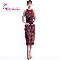 Evening Dress Straight Halter Shiny Wine Red Evening Sequin Dresses Elegant Women Evening Dresses Gowns