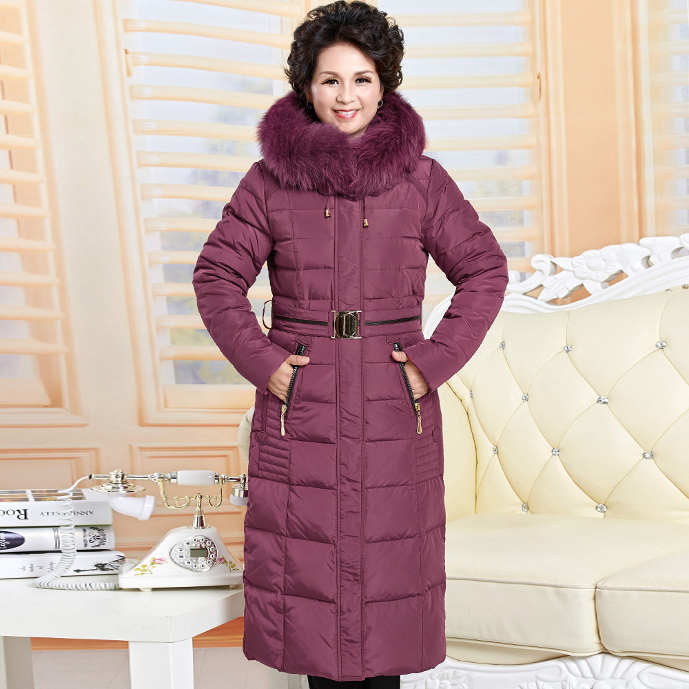Winter new arrival womens maxi long duck down coat mama jacket over-the-knee real big fur hood plus oversize blue red xxxxxl