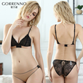 Women's wireless bra sexy lace intimates embroidery ultra-thin breathable bra girls bra and pantie set transparent underwear set