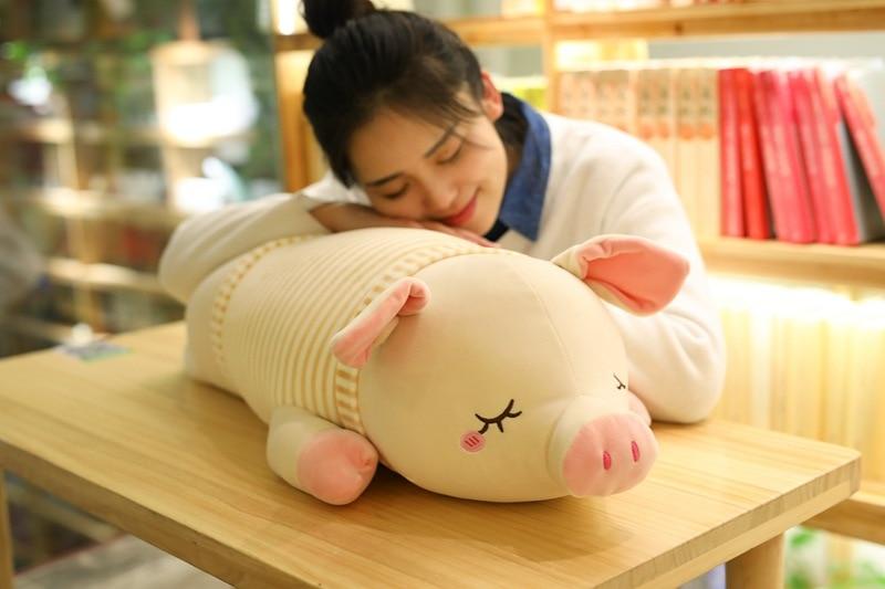 Mignon gros cochon en peluche jouet en peluche rose ou jaune rayure tissu cochon poupée cadeau environ 80 cm 2483