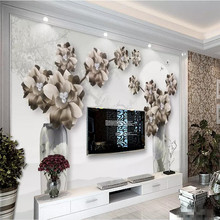 цена Vintage jewelry flower living room TV background wall professional production wallpaper mural custom poster photo wall