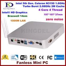 Безвентиляторный Mini PC, HTPC, Intel Celeron 5-го поколения N3150, Quad Core, 14nm, Малый Размер Вычислить, HDMI, VGA, Оптический, COM RS232, 6 * USB, Windows 10