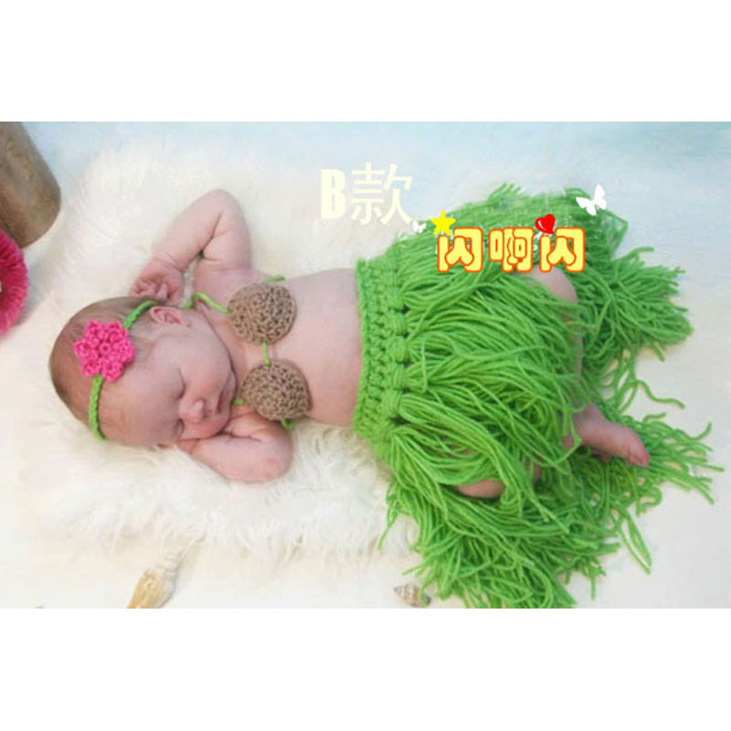 Baby Hawaiian Hula Dancer Grass Skirt Covered with Diaper   Coconut Bra and  a headband Flower Cluster on the Skirt Photo Props-in Skirts from Mother    Kids ... a451cd65472