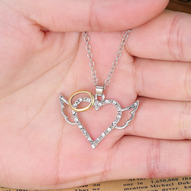 Silver Angel Wings Love Heart Pendant Necklace 4