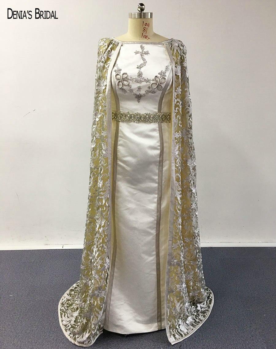 2017 robes de soirée sirène avec encolure dégagée dentelle Cape étage longueur sans manches robes de bal de fête