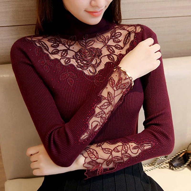 5c392afaf2a0d 2019 Autumn Winter Lace Patchwork Pullovers Sweater Ladies Long Sleeve  Turtleneck Sueter Mujer Casual Knitted Women Sweaters -in Pullovers from  Women's ...