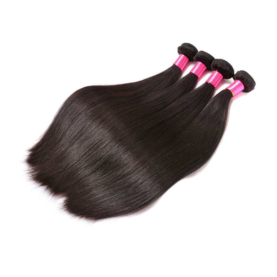 Brazilian Straight Hair 4 Bundles 100% Human Hair Weave Extensions Natural Color Remy Ha ...