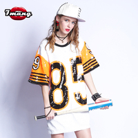 7mang 2018 summer women fashion long street number 85 sequins t shirt party heavy long casual t shirt